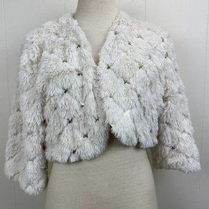 Forever 21 Boutique Fuzzy White Sequin Jacket